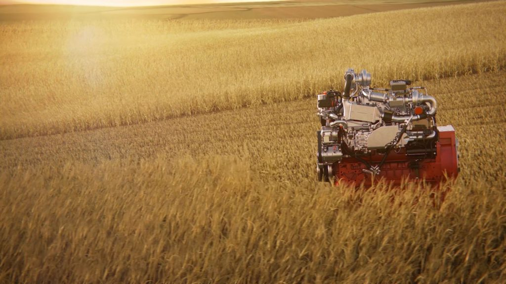 Medium wide CG rendering of a Deutz motor harvesting a wheat field.
