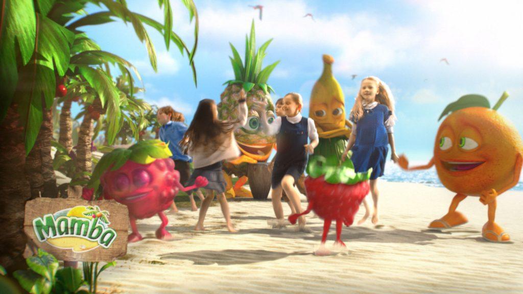 Kids and Mamba fruit chews cartoon characters dancing on a tropical beach.