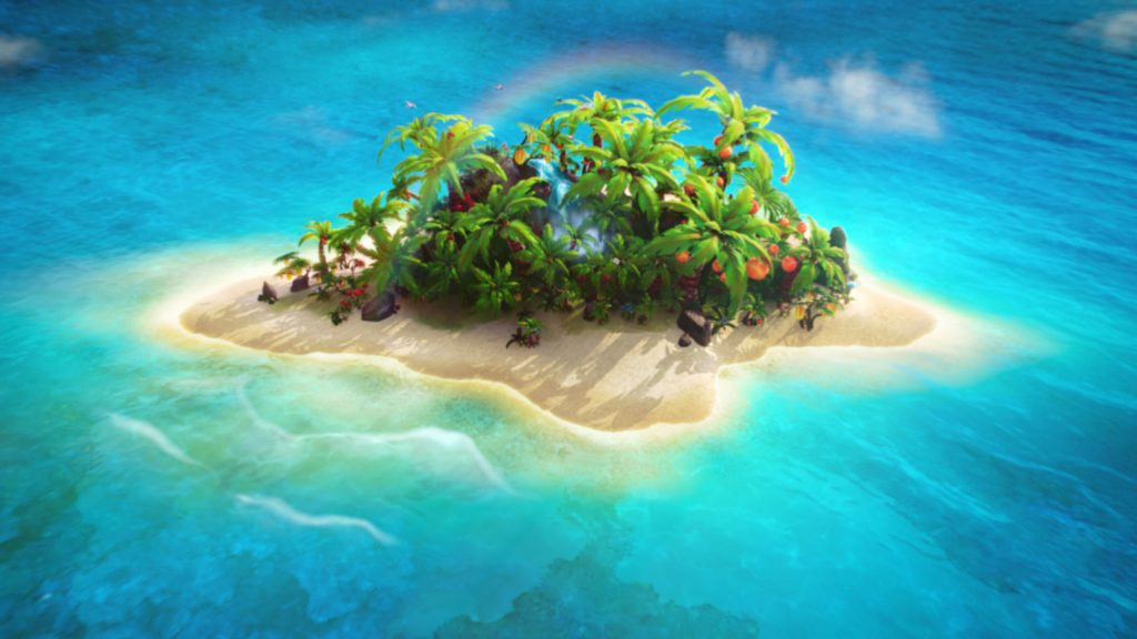 Rendering of the Mamba fruit chews tropical island.