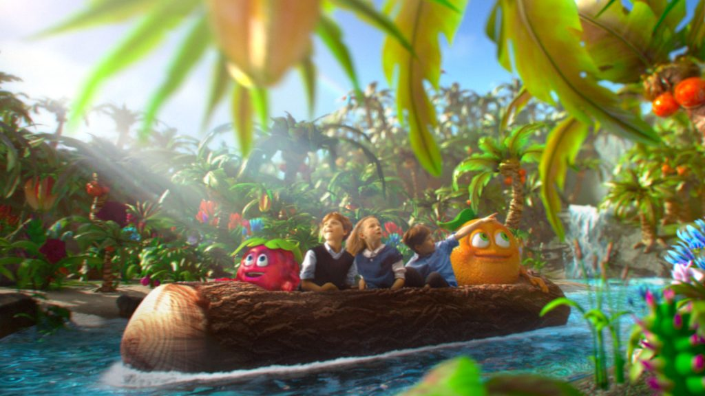 Kids and Mamba cartoon characters sitting in a dugout canoe, rafting a river on a tropcial island.