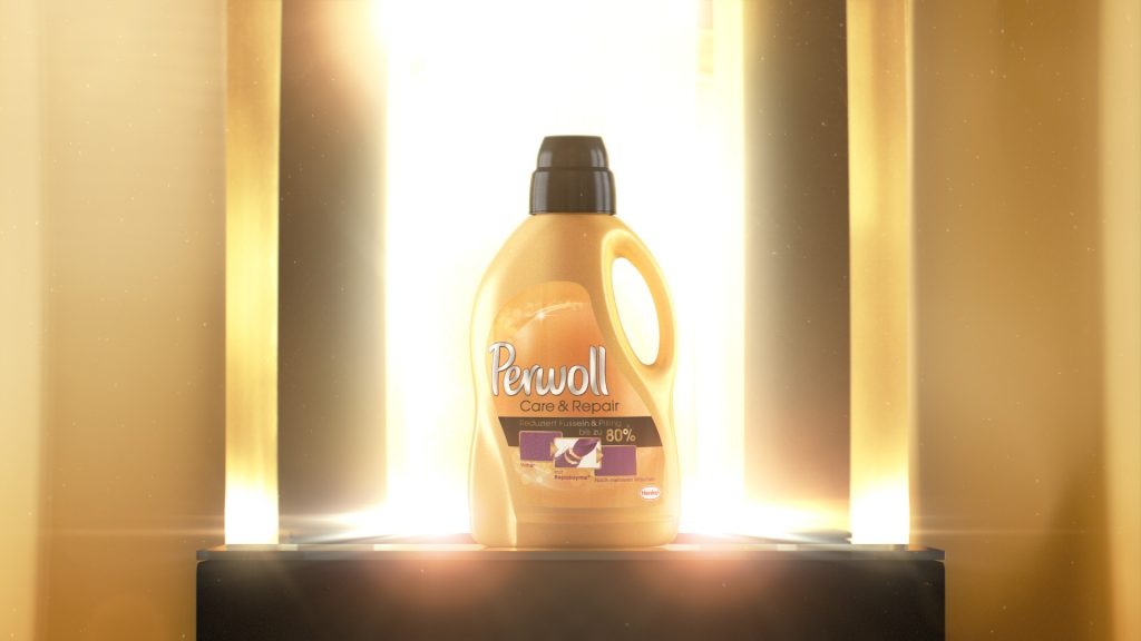 VFX rendering of a yellow Perwoll Care & Repair bottle infront of a mirror.