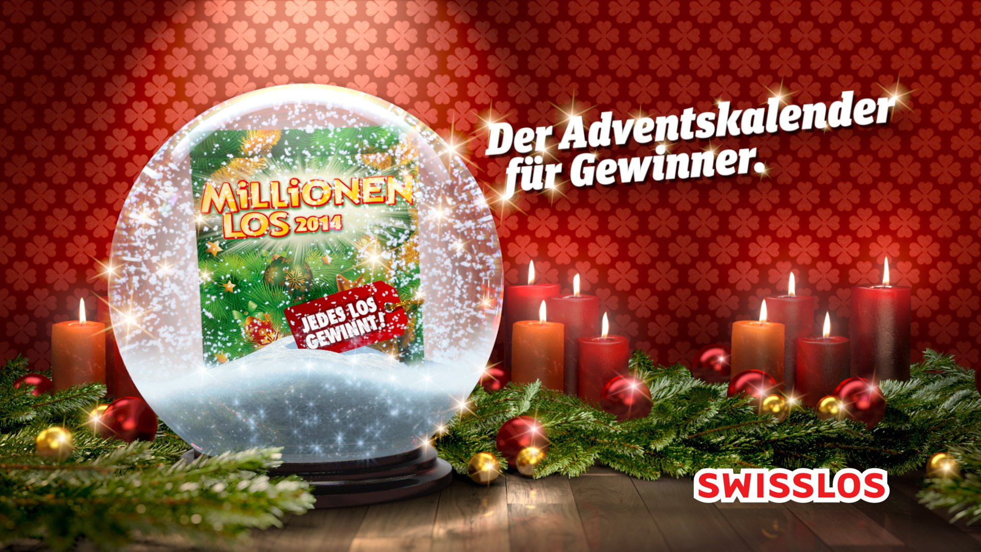 VFX rendering of a Swisslos in a snow globe surrounded fir branches and red, lit candles.