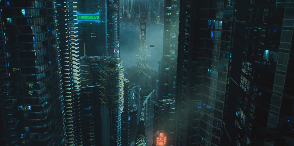 """VFX rendering of Altered Carbon's """"Bay City"""""""
