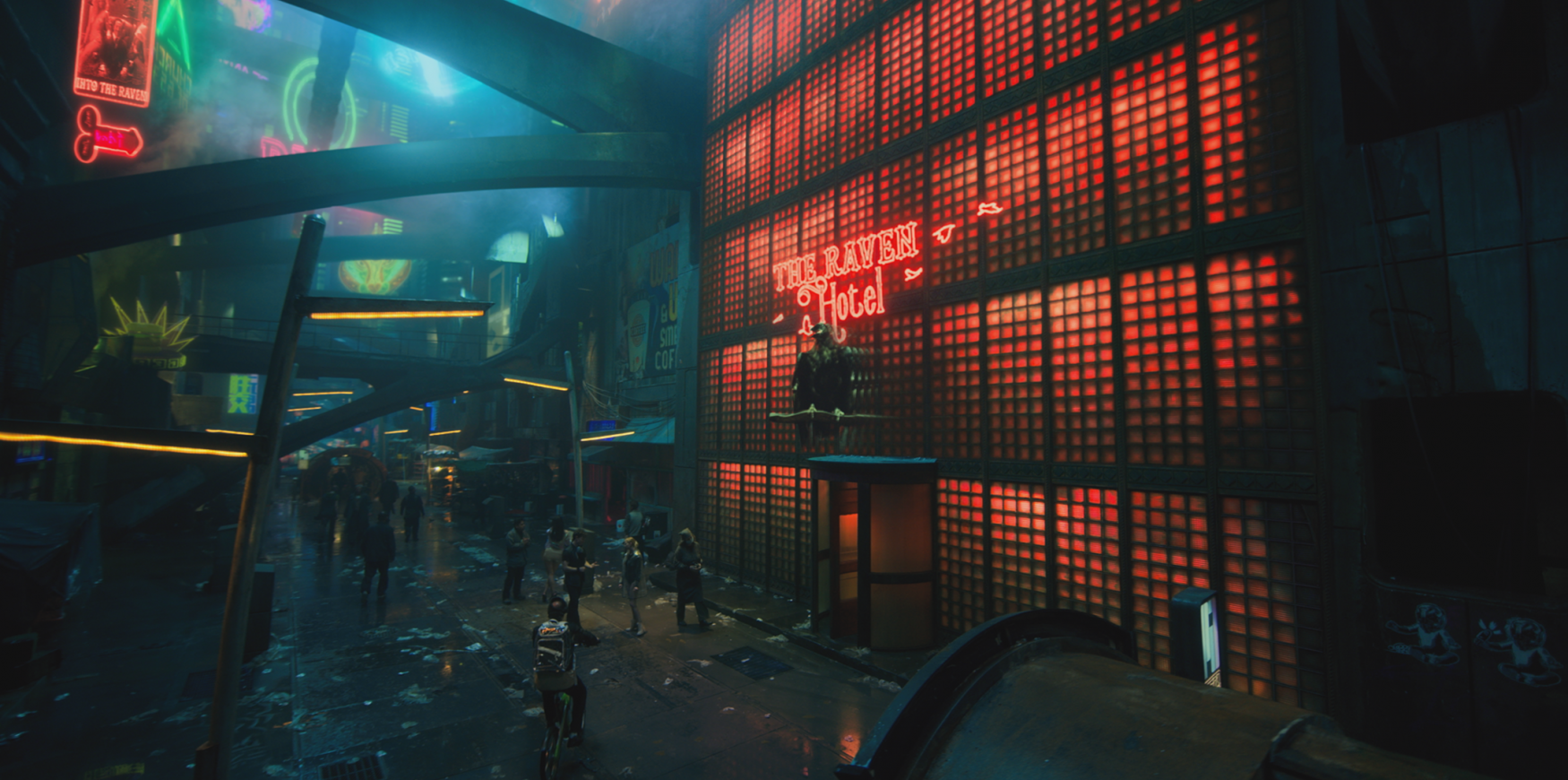 """VFX rendering: Outside view of Altered Carbon's """"The Raven Hotel""""."""