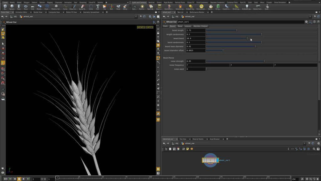 Houdini screenshot showing the UI of a wheat-ear generator HDA.
