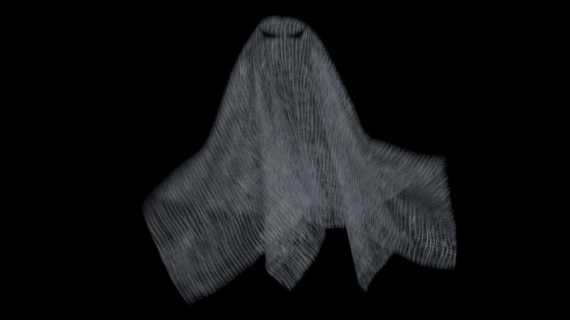 VFX course poster for Houdini Vellum-Cloth showing a semitransparent cloth-ghost.