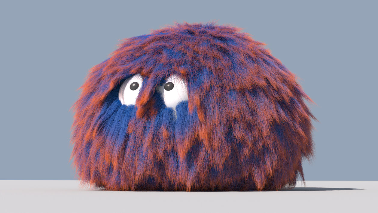 VFX course poster for Houdini Vellum-Hair showing a red and blue tribble.