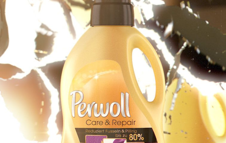 VFX rendering of a yellow Perwoll Care & Repair bottle infront of a currently shattering mirror.
