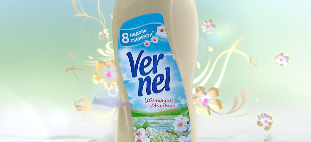 VFX rendering of a russian Vernel bottle with graphical ornaments in the background and flower petals on the floor.
